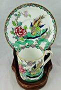 Crown Staffordshire Rock Bird Tea Cup And Saucer Demitasse Coffee Cup