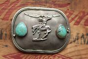 Vintage Sterling Silver Turquoise Indian On Horse Hand Made Western Belt Buckle