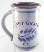 East Granby Ct. Blue And White Salt Glaze Stoneware Beer Stein Mug Pottery Clay