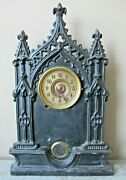 Rare Gothic Iron Front Clock Antique Monumental 23 Tall 14.9 Lbs Terry And Downs