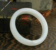 57mm Chinese Xin Jiang 100 Pure Hetian Jade Hand-carved Bracelet Bangle