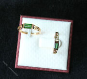 China Donghai Natural Gem Green Crystal 18k Gold Wedding Marry Ring Jewelry Pair