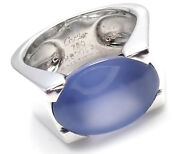 Authentic 18k White Gold Large Chalcedony Ring 1999