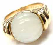 Rare Authentic Boucheron 18k Yellow Gold Mother Of Pearl Ring
