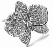 Authentic Caresse Dand039orchidandeacutees Orchid Flower 18k White Gold Diamond Ring