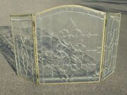 Vintage French Country Three Panel Leaded Glass Fireplace Screen