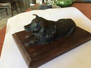 1950 Beautiful Bronze Dog In Great Shape And Dated