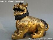Chinese Royal 100 Pure Bronze 24k Gold Carve Foo Dogs Lions Animals Lion Statue