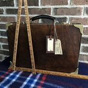 Vintage 1970and039s Abercrombie And Fitch Belting Leather Macbook Briefcase Bag R2898