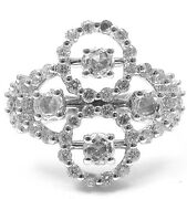 New Authentic Damiani 18k White Gold Diamond Cluster Clover Ring
