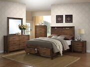 Antique Brass Metal 4pc Contemporary Queen Size Bedroom Furniture Bed Oak Finish