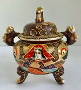 Japanese Satsuma Moriage 5 Footed Incense Burner With Foo Dogs