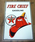 Porcelain Texaco Fire Chief Gasoline Sign 11x 17 - Reproduction By Ande Rooney