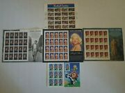 5 Sheets Of .32 Us Postage Stamps Hollywood Stars Football Coaches Looney Tunes
