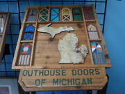 Wooden Hand Carved Michigan Outhouse Doors -17.5 X 20..0- Michigan Artist