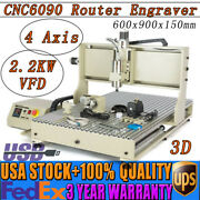 4axis 6090 Cnc Router 2200w Engraver Milling Cutting Machine 3d Cutter Usb Diy