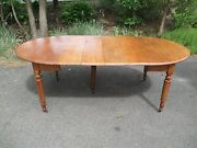 American Chestnut And Ash 5 Leg Drop Leaf Dining Table Early / Rare Leaf Supports