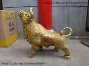China Royal 100 Pure Bronze Cloisonne Foo Dog Lion Cattle Bull Ox Animal Statue