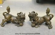 22 Chinese Fengshui Guardian Evil Foo Fu Dog Lion Play Ball Old Bronze Pair