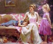 Pino A Time To Remember Giclee Canvas Hand Signed Le 36x30 Mother Children Art