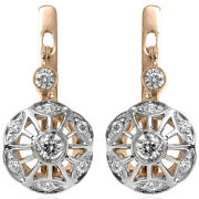 0.54 Ct.t.w. Diamond Earrings Russian Style In 14k Rose And White Gold 585 E1236
