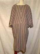 Vintage 1980s Issey Miyake Plantation Taupe Stripeoversize Dress Fits S/m/l
