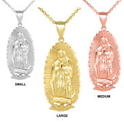 Solid Gold Our Lady Of Guadalupe Virgen Maria Mary Sm Md Lg Pendant Necklace