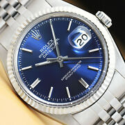 Rolex Mens Datejust Blue Dial 18k White Gold And Stainless Steel Watch