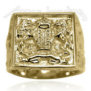 Menand039s Lions Facing The Ten Commandments Ring In 14k Solid Yellow Gold R1918