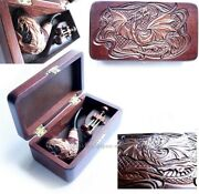 Set Dragon Smoking Tobacco Carved Pipe In Wooden Box +cleaning Tools Accessories