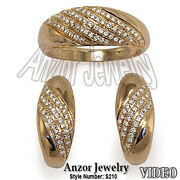 Russian Style Jewelry 18k Solid Rose Gold Pave Diamond Ring And Earrings Set.