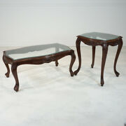 French Louis Xv Style Coffee And 2 Side Tables Set Mahogany With Glass Top