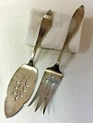 Kalo Hand Wrought Hammered Sterling Silver Pierced Cake Knife And Serving Fork
