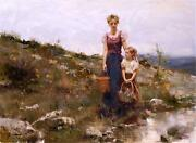 Pino Close To Home Mother Child On A Walk Giclee Canvas Hand Signed/ Coa