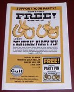 1968 Political Party Pin Adgulf Oil Promodemocrat And Republicanwith Fill Up