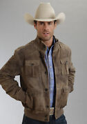 Stetson Mens Brown Antique Finish Lamb Suede Leather Jacket Xl