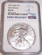 2019 1 Ngc Ms70 American Silver Eagle Early Releases Blue Label