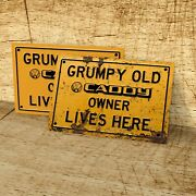 Grumpy Old Vw Caddy Owner Lives Here Sign For Garage, Man Cave