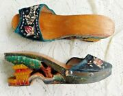 Vintage Wwii Hand Carved And Painted Japanese Wood Shoes W Beads Fish Velvet