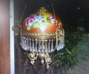 Victorian Antique Hanging Lamp Or Chandelier, Floral Art Glass Shade English