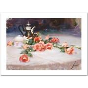 Pino Long Stem Lovelies Pretty Roses Sold Out Giclee Canvas Hand Signed/coa