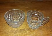 Clear Cut Glass Cream And Suger Bowels