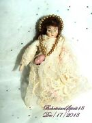 Antique 30and039s Porcelain Bisque Jointed Arms Lace Dress 4and039and039 Miniature Doll