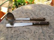 Vintage Prestige Stainless Steel Soup Ladle Spatula Wood Handle Made In England