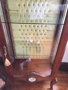 Antique Vitrine Tufted Back French Curio Cabinet