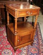 Louis Xv Antique Walnut Nightstand Small Table Bedroom Furniture