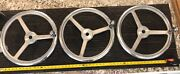 3 Qty Old Steering Wheels Stainless Steel 3 Spokes 16andrdquo Dia Boat Steering Knob