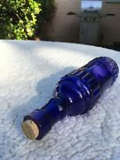 Decorative Antique Colored Dark Blue Glass Bottle With Stopper
