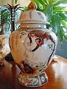 Nwt 15 Chinese Porcelain Ancient Tree Monkey Monkeys Vase With Lid Statue