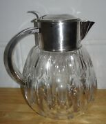 Vintage Made In Western Germany Clear Cut Glass Pitcher And Ice Chiller